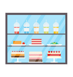 Cake and juices in plastic cups refrigerator vector