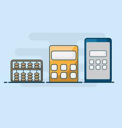 calculator flat line design vector image