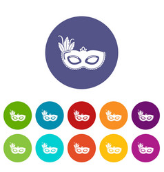 carnival mask icons set color vector image
