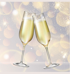 Champagne glasses on holiday silver background vector