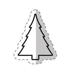 Christmas tree celebration cut line vector