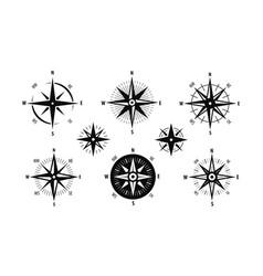 compass wind rose icon set marine navigation vector image