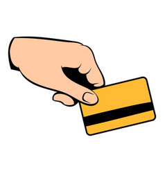Credit card in hand icon cartoon vector