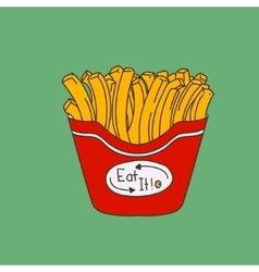 Cute hand-drawn cartoon-style fries vector