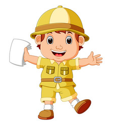 cute hiker boy holding paper vector image