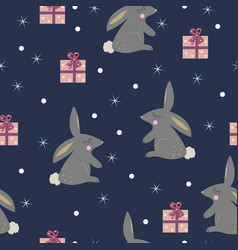 cute rabbit with presents seamless pattern vector image