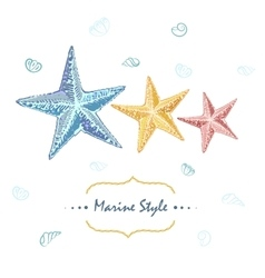 Decorative sea card with starfishes in different vector image