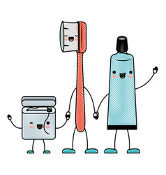Dental floss and toothbrush and toothpaste in vector