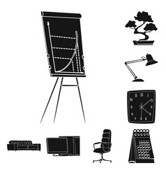 design of furniture and work icon set of vector image