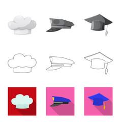 Design of headgear and cap sign set of vector