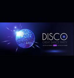 Disco party flyer template with mirror ball vector