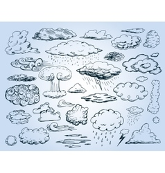 Doodle Collection of Hand Drawn Clouds vector