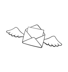 doodle flying opened envelope with wings vector image