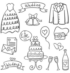 doodle of wedding style hand draw vector image