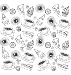 Doodle seamless pattern with tea and sweets vector image