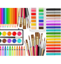 drawing tools realistic top view brush vector image