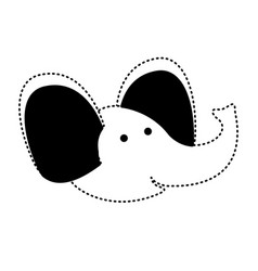 Elephant cartoon head in black dotted silhouette vector