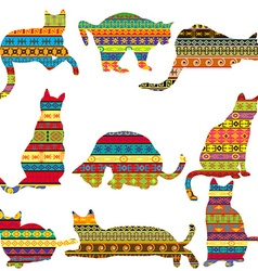 Ethnic decorative patterned cats vector