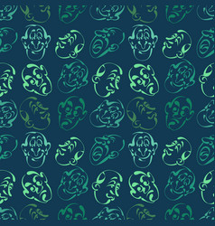 face emotion hand drawn pattern background with vector image