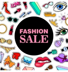 Fashion SALE Poster banner with Patch Badges vector