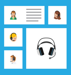 flat icon center set of secretary earphone vector image