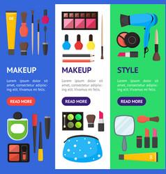 flat make up tools cosmetics mascara and brushe vector image