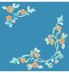 floral pattern blue background vector image vector image