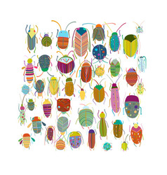 funny beetles collection for your design vector image