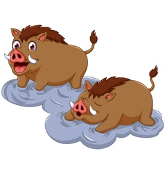 Funny wild boar cartoon sitting with her baby vector