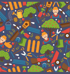 gardening icons in seamless pattern vector image