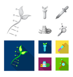genetic and plant icon set vector image