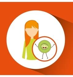girl cartoon and kiwi cute fruit icon vector image