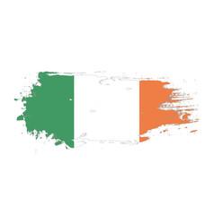 grunge brush stroke with ireland national flag vector image