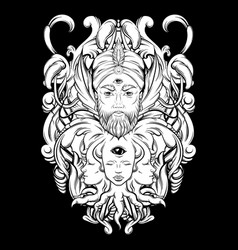 Hand drawn fortune teller with three eyes hand vector