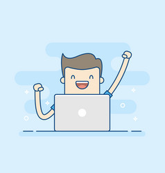 happy businessman with laptop vector image