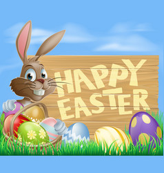 happy easter sign vector image