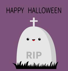 happy halloween grave stone cemetery cross vector image