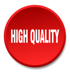High quality red round flat isolated push button vector