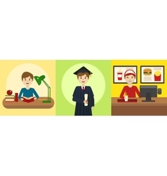 Human life path education and work cartoon vector