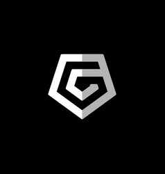 Initial letter g logo template with pentagonal vector