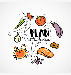 ketogenic plan - sketch vector image