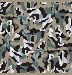 Khaki camouflage seamless pattern in grey and vector