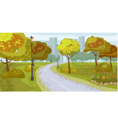 landscape background public park in the city vector image