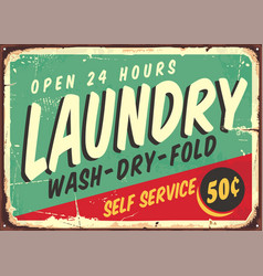 Laundry fifties comic style retro sign vector