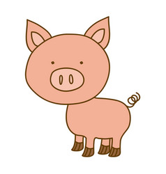 light colored hand drawn silhouette of pig vector image