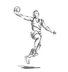 Line sketch basketball player vector