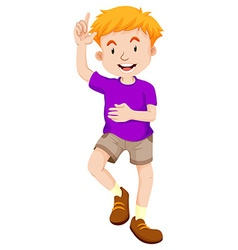 Little boy in purple shirt vector