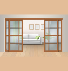 Living room interior with sliding doors vector