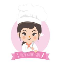 Logo bekery chef cute girl vector
