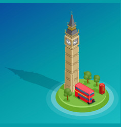 london set of detailed isometric big ben vector image